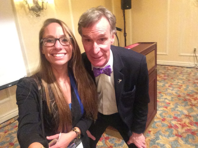 Meeting Bill Nye for the first time at the 31st Space Symposium. He made fun of my selfie stick haha